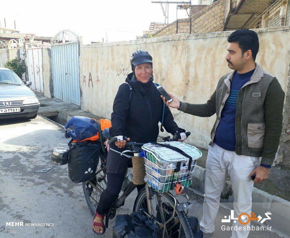 ایران گردی بانوی جهانگرد ایتالیایی با دوچرخه