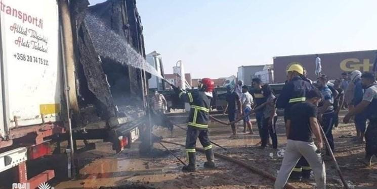 آتش سوزی در گذرگاه مرزی زرباطیه عراق